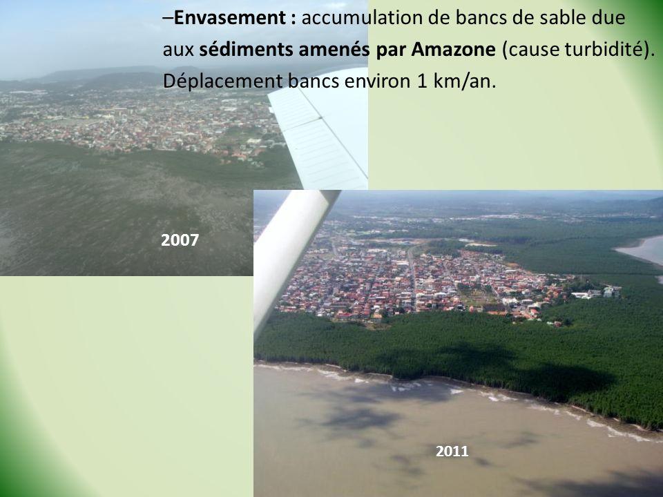 –Envasement : accumulation de bancs de sable due aux sédiments amenés par Amazone (cause turbidité). Déplacement bancs environ 1 km/an. 2007 2011