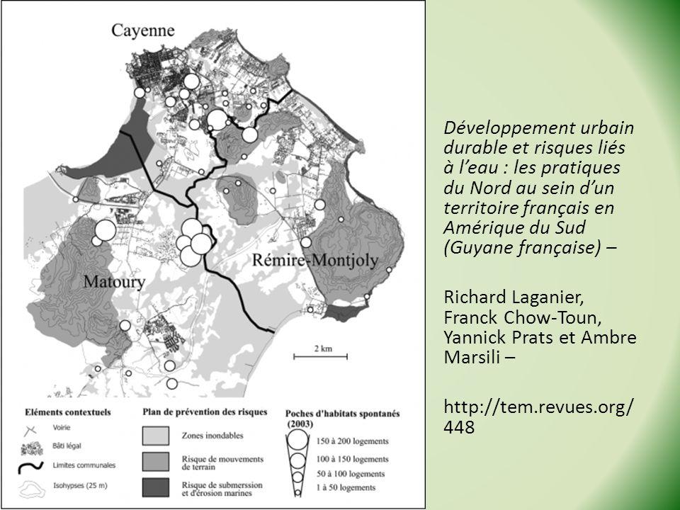 Développement urbain durable et risques liés à leau : les pratiques du Nord au sein dun territoire français en Amérique du Sud (Guyane française) – Richard Laganier, Franck Chow-Toun, Yannick Prats et Ambre Marsili – http://tem.revues.org/ 448 Stage Géo de la Guyane - 2013