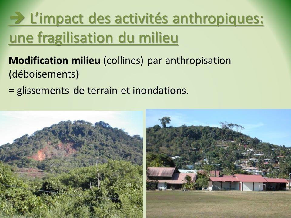 Limpact des activités anthropiques: une fragilisation du milieu Limpact des activités anthropiques: une fragilisation du milieu Modification milieu (collines) par anthropisation (déboisements) = glissements de terrain et inondations.