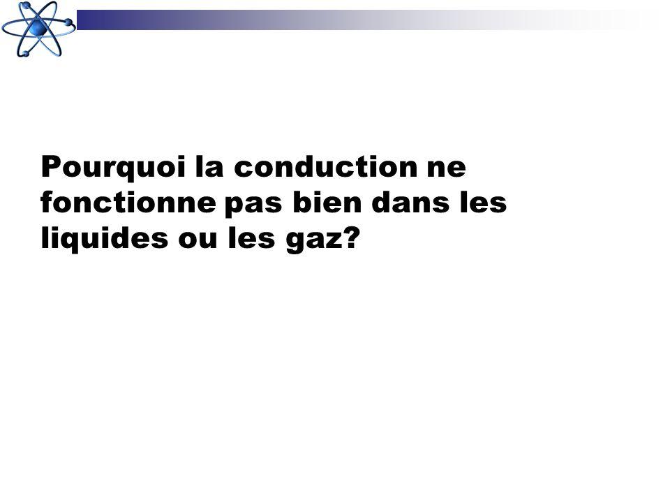 Pourquoi la conduction ne fonctionne pas bien dans les liquides ou les gaz?