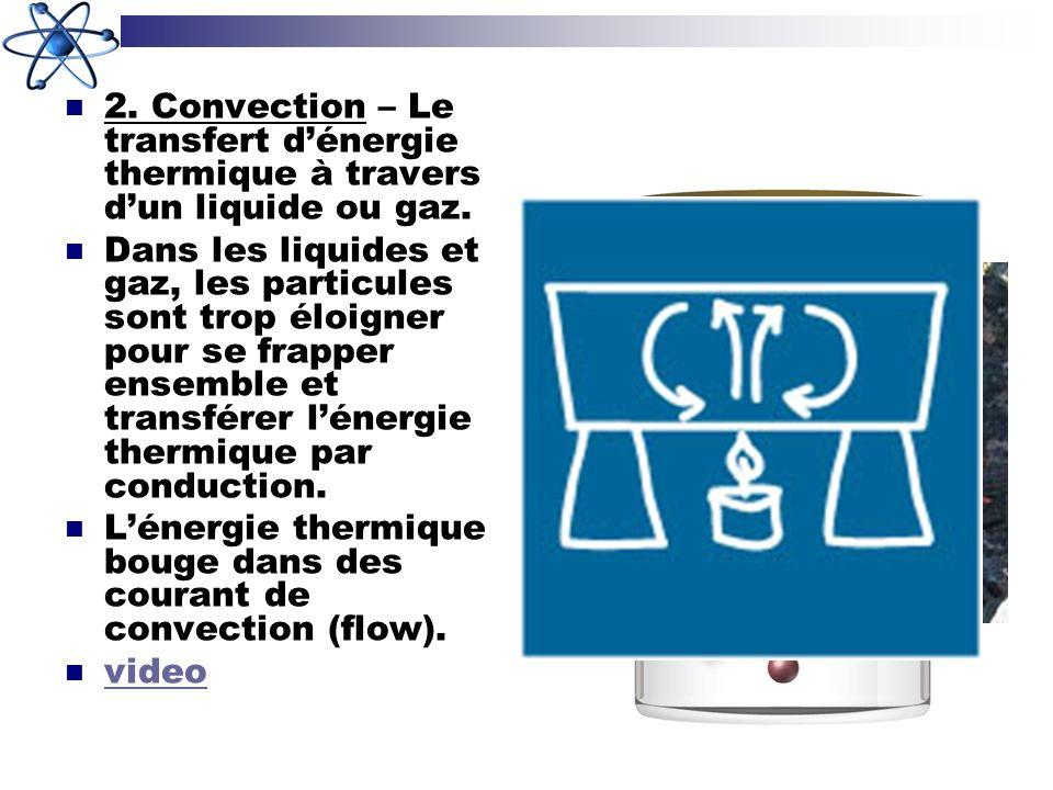 2. Convection – Le transfert dénergie thermique à travers dun liquide ou gaz. Dans les liquides et gaz, les particules sont trop éloigner pour se frap