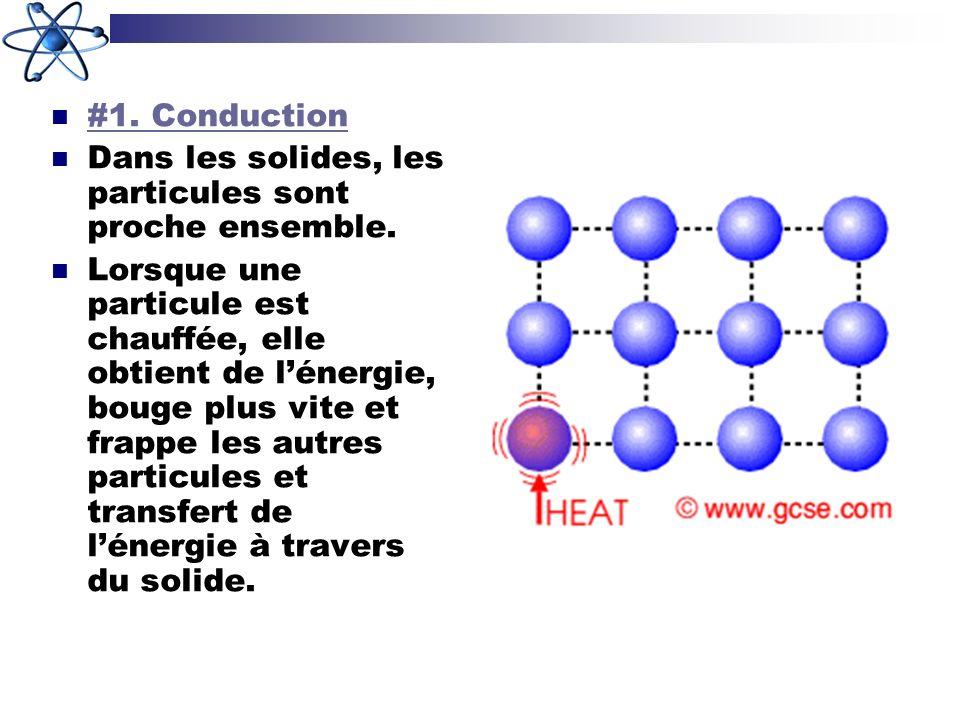 #1. Conduction Dans les solides, les particules sont proche ensemble. Lorsque une particule est chauffée, elle obtient de lénergie, bouge plus vite et