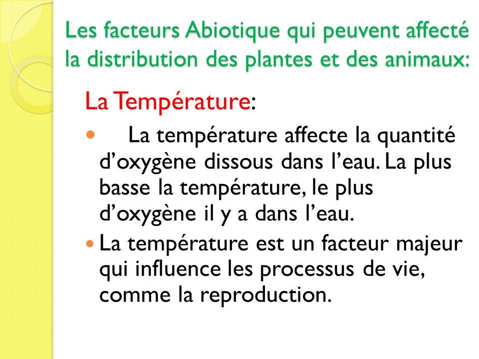 Les facteurs Abiotique qui peuvent affecté la distribution des plantes et des animaux: La Température: La température affecte la quantité doxygène dis