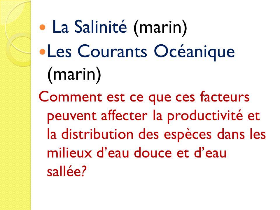 La Salinité (marin) Les Courants Océanique (marin) Comment est ce que ces facteurs peuvent affecter la productivité et la distribution des espèces dan