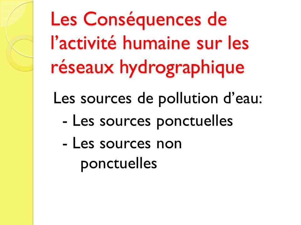 Les Conséquences de lactivité humaine sur les réseaux hydrographique Les sources de pollution deau: - Les sources ponctuelles - Les sources non ponctu