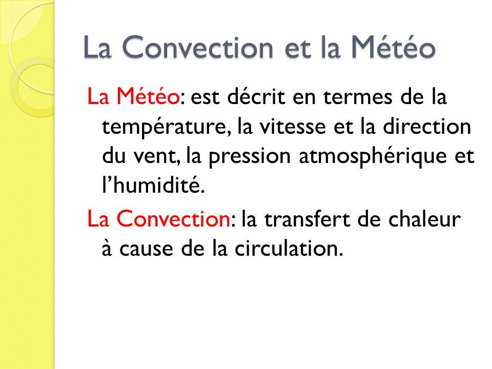 La Convection et la Météo La Météo: est décrit en termes de la température, la vitesse et la direction du vent, la pression atmosphérique et lhumidité