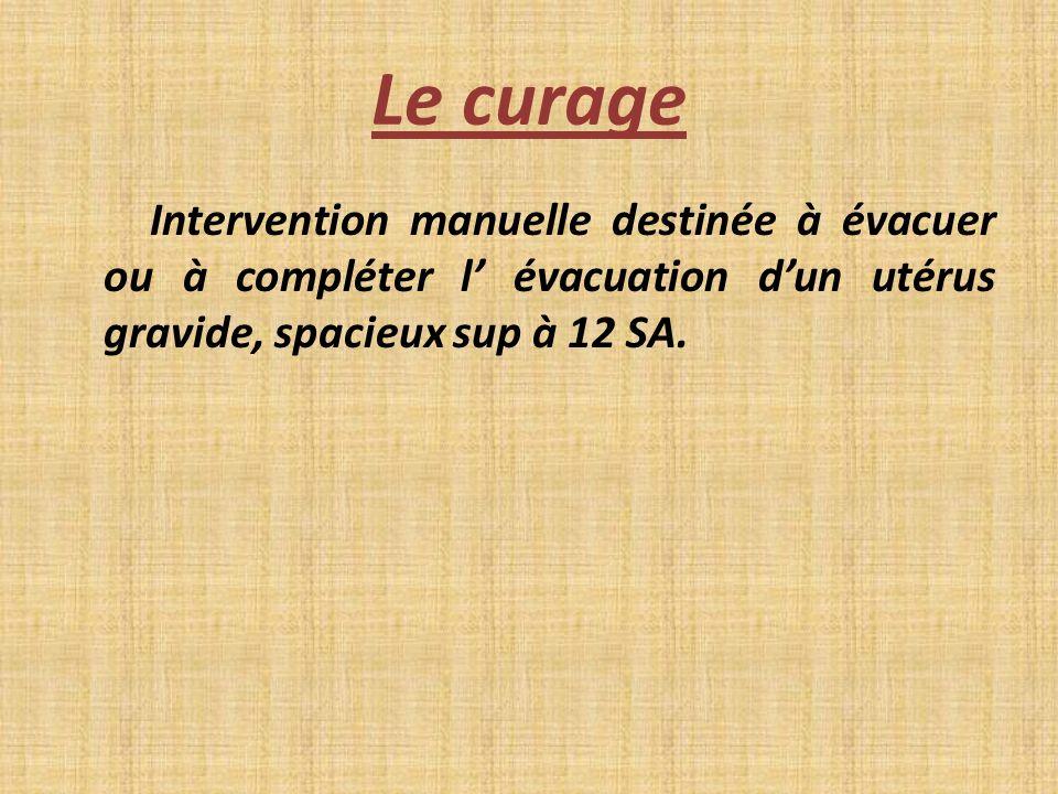 Le curage Intervention manuelle destinée à évacuer ou à compléter l évacuation dun utérus gravide, spacieux sup à 12 SA.