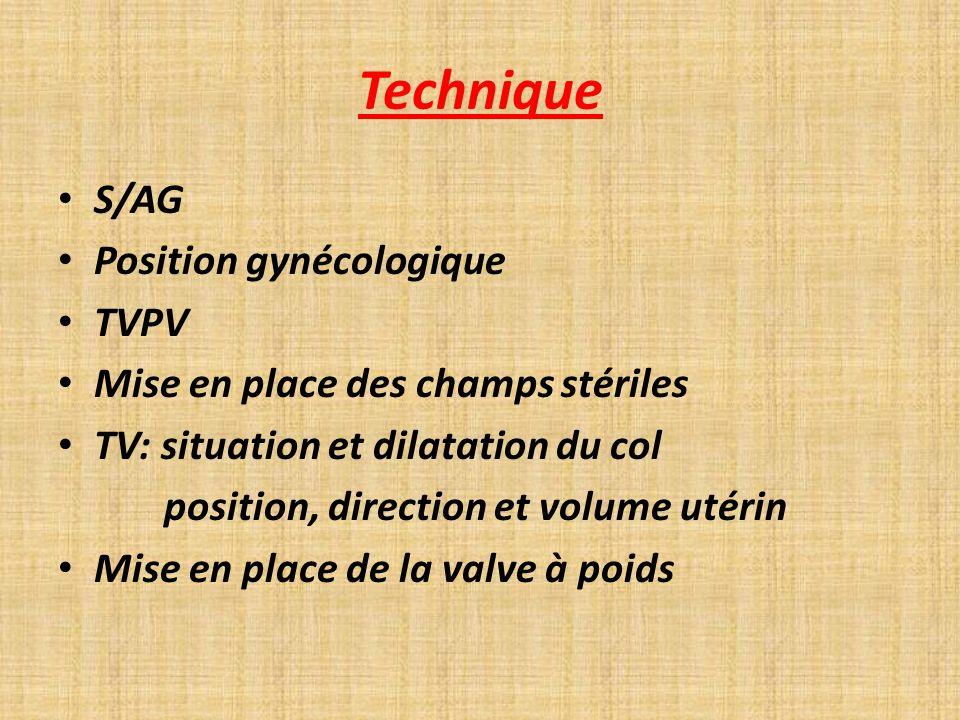 Technique S/AG Position gynécologique TVPV Mise en place des champs stériles TV: situation et dilatation du col position, direction et volume utérin M