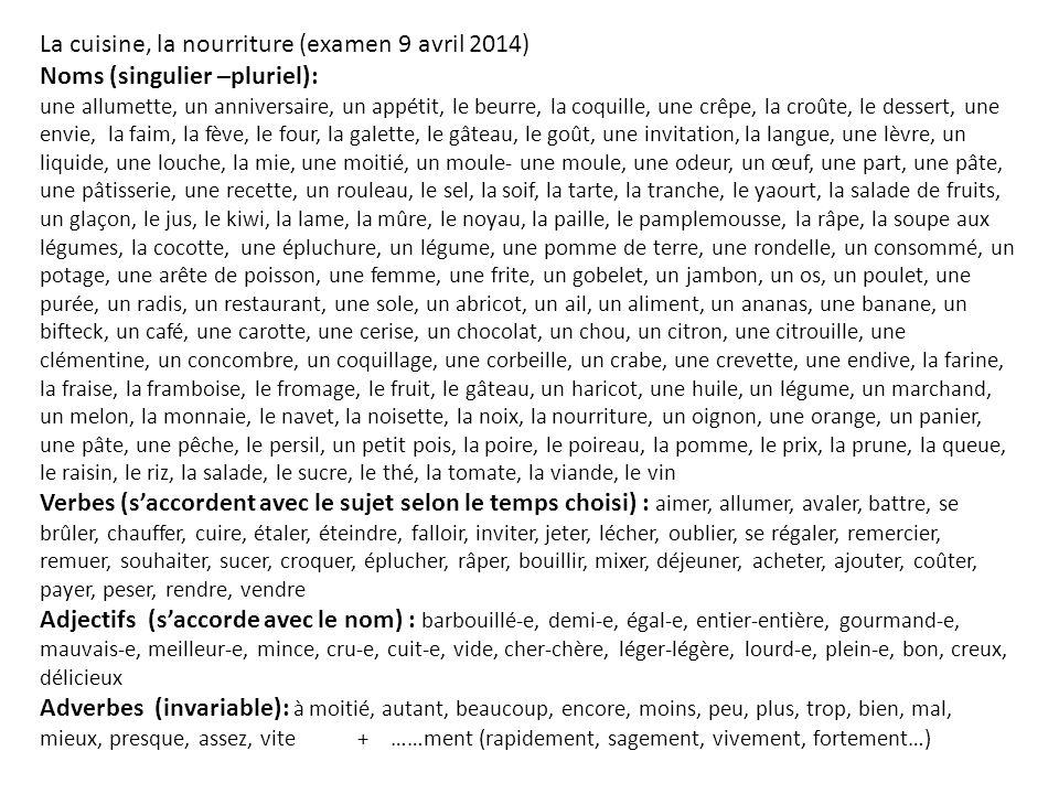 La cuisine, la nourriture (examen 9 avril 2014) Noms (singulier –pluriel): une allumette, un anniversaire, un appétit, le beurre, la coquille, une crê