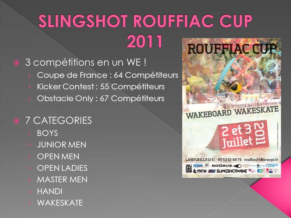 3 compétitions en un WE ! Coupe de France : 64 Compétiteurs Kicker Contest : 55 Compétiteurs Obstacle Only : 67 Compétiteurs 7 CATEGORIES BOYS JUNIOR