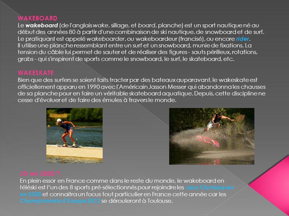 WAKEBOARD Le wakeboard (de l'anglais wake, sillage, et board, planche) est un sport nautique né au début des années 80 à partir d'une combinaison de s