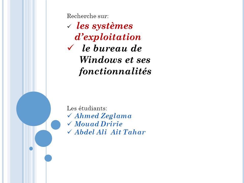Recherche sur: les systèmes dexploitation le bureau de Windows et ses fonctionnalités Les étudiants: Ahmed Zeglama Mouad Dririe Abdel Ali Ait Tahar