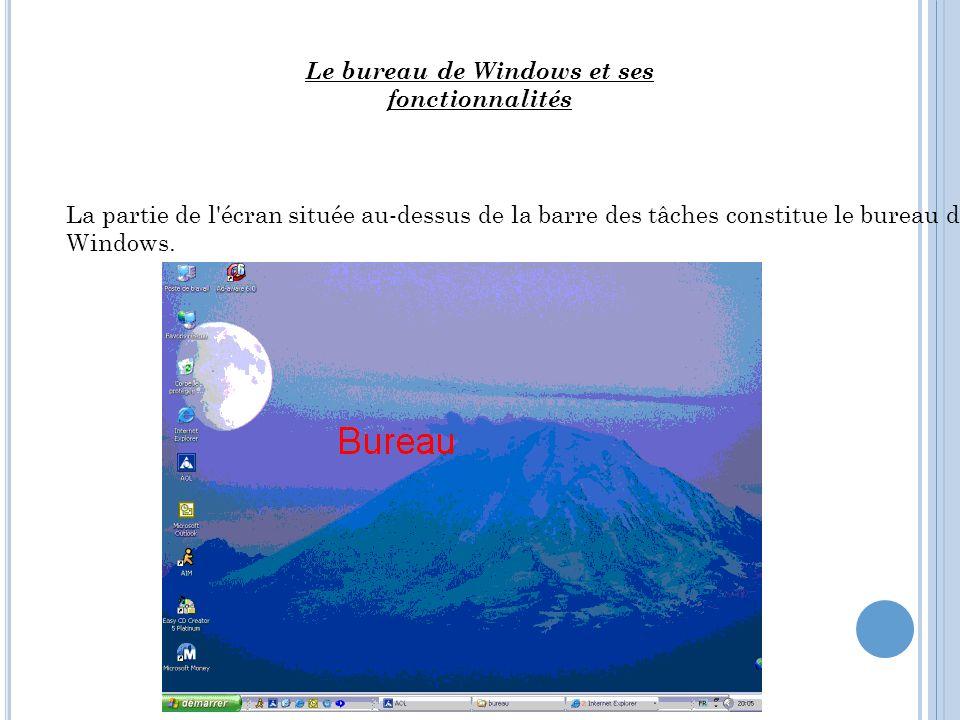 La partie de l'écran située au-dessus de la barre des tâches constitue le bureau de Windows. Le bureau de Windows et ses fonctionnalités