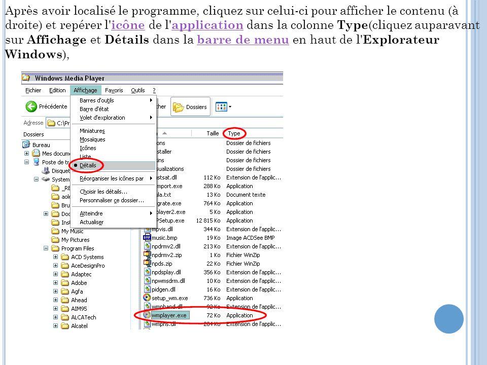 Après avoir localisé le programme, cliquez sur celui-ci pour afficher le contenu (à droite) et repérer l' icône de l' application dans la colonne Type