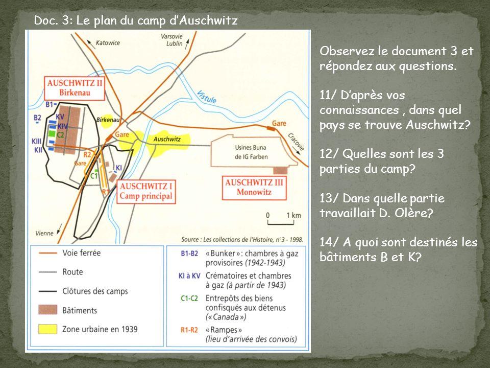 Doc.3: Le plan du camp dAuschwitz Observez le document 3 et répondez aux questions.