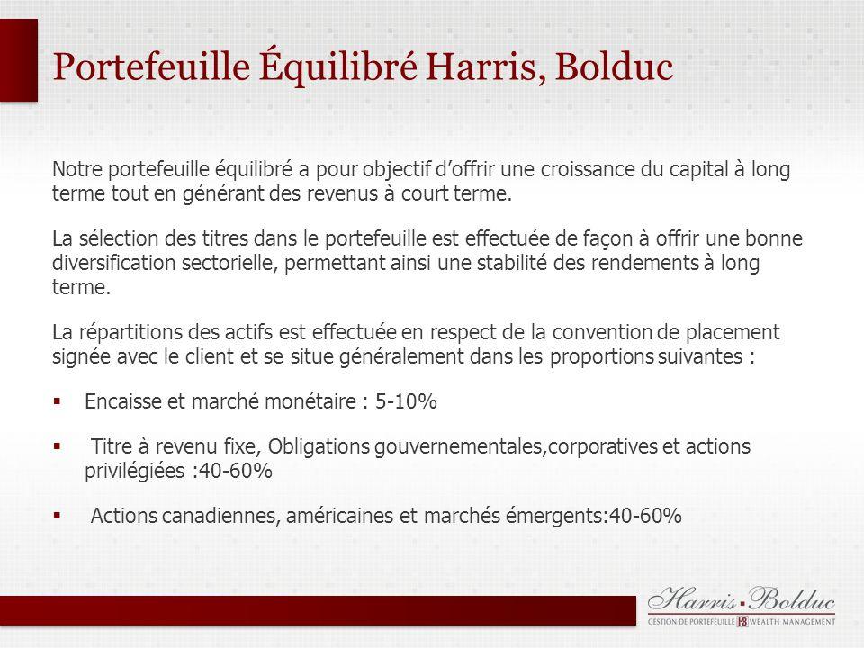 Portefeuille Équilibré Harris, Bolduc Notre portefeuille équilibré a pour objectif doffrir une croissance du capital à long terme tout en générant des revenus à court terme.