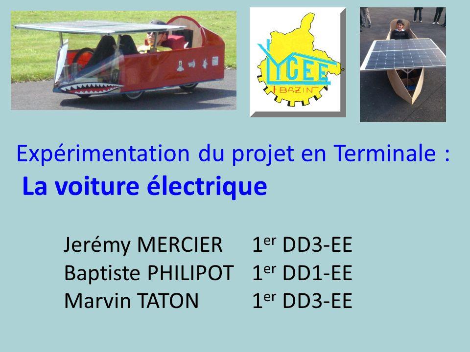 Expérimentation du projet en Terminale : La voiture électrique Jerémy MERCIER1 er DD3-EE Baptiste PHILIPOT1 er DD1-EE Marvin TATON1 er DD3-EE