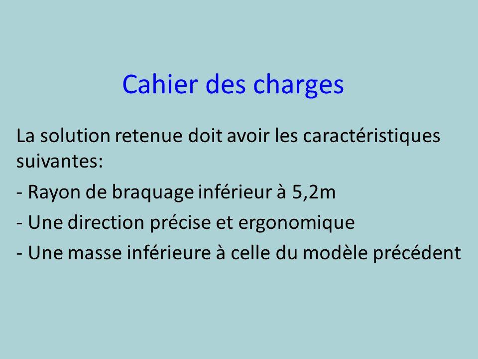 Cahier des charges La solution retenue doit avoir les caractéristiques suivantes: - Rayon de braquage inférieur à 5,2m - Une direction précise et ergo
