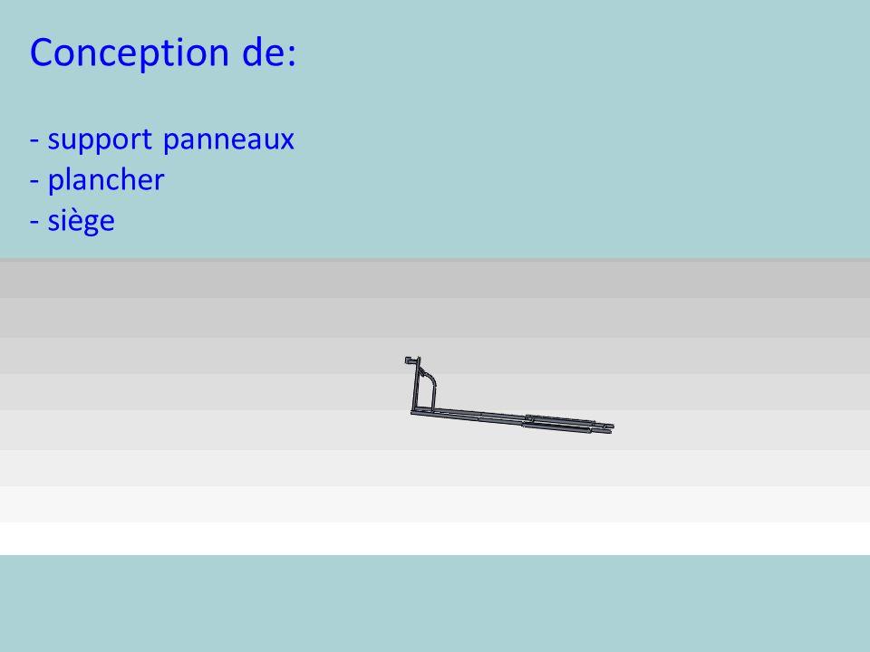 Conception de: - support panneaux - plancher - siège
