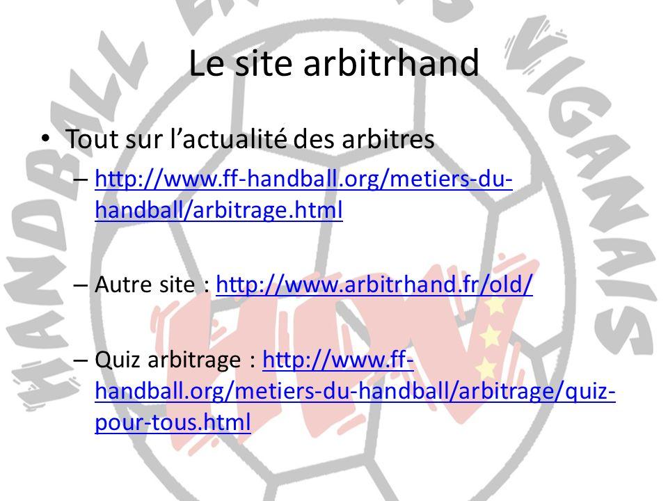 Le site arbitrhand Tout sur lactualité des arbitres – http://www.ff-handball.org/metiers-du- handball/arbitrage.html http://www.ff-handball.org/metier