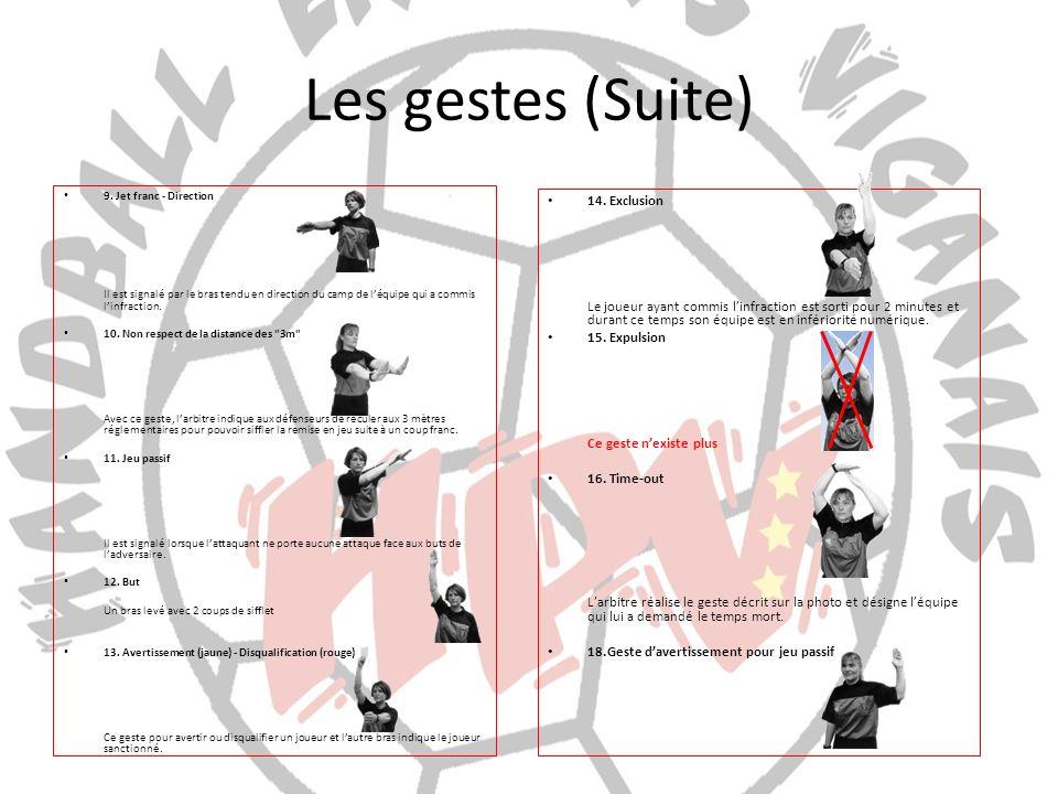 Les gestes (Suite) 9. Jet franc - Direction Il est signalé par le bras tendu en direction du camp de léquipe qui a commis linfraction. 10. Non respect