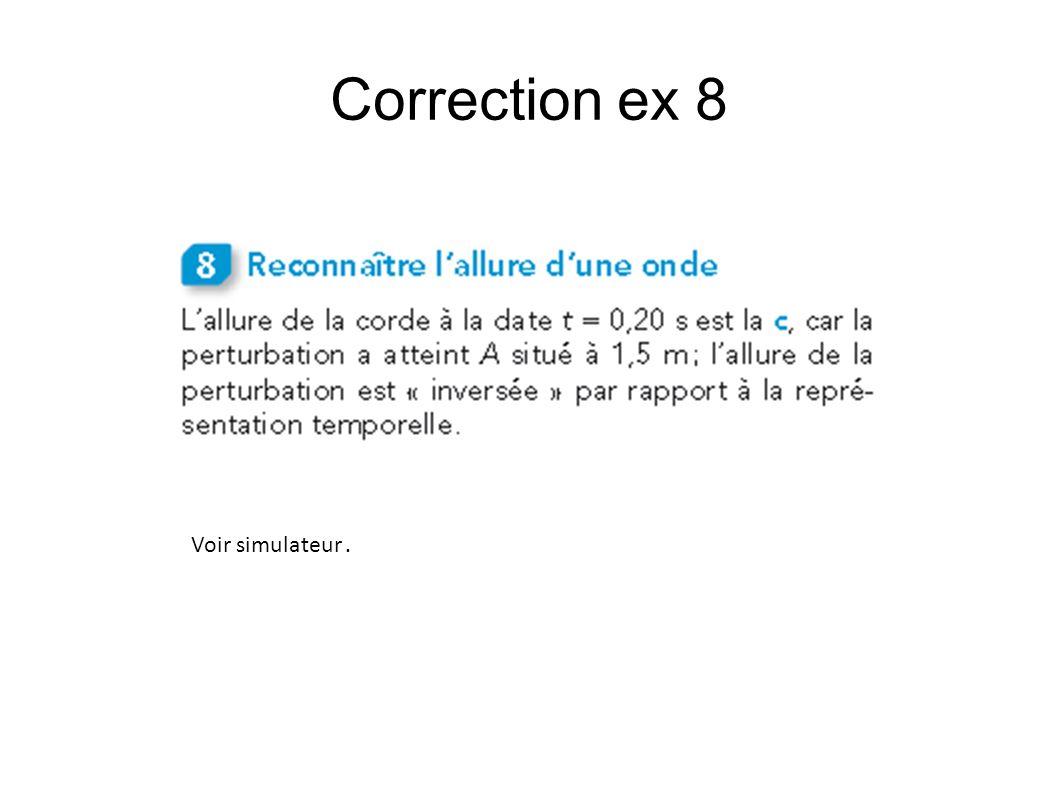 Correction ex 8 Voir simulateur.