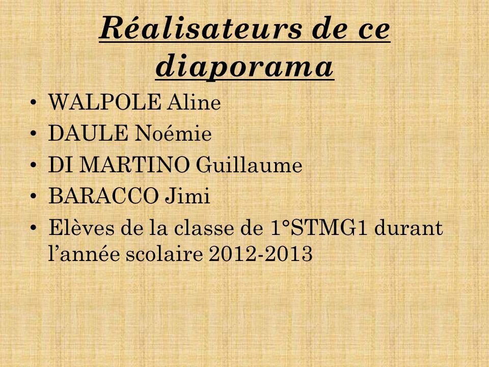 Réalisateurs de ce diaporama WALPOLE Aline DAULE Noémie DI MARTINO Guillaume BARACCO Jimi Elèves de la classe de 1°STMG1 durant lannée scolaire 2012-2013
