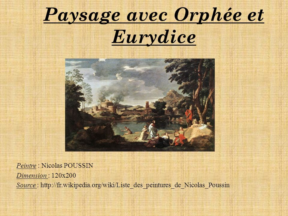 Paysage avec Orphée et Eurydice Peintre : Nicolas POUSSIN Dimension : 120x200 Source : http://fr.wikipedia.org/wiki/Liste_des_peintures_de_Nicolas_Poussin