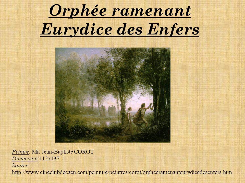 Orphée ramenant Eurydice des Enfers Peintre: Mr.
