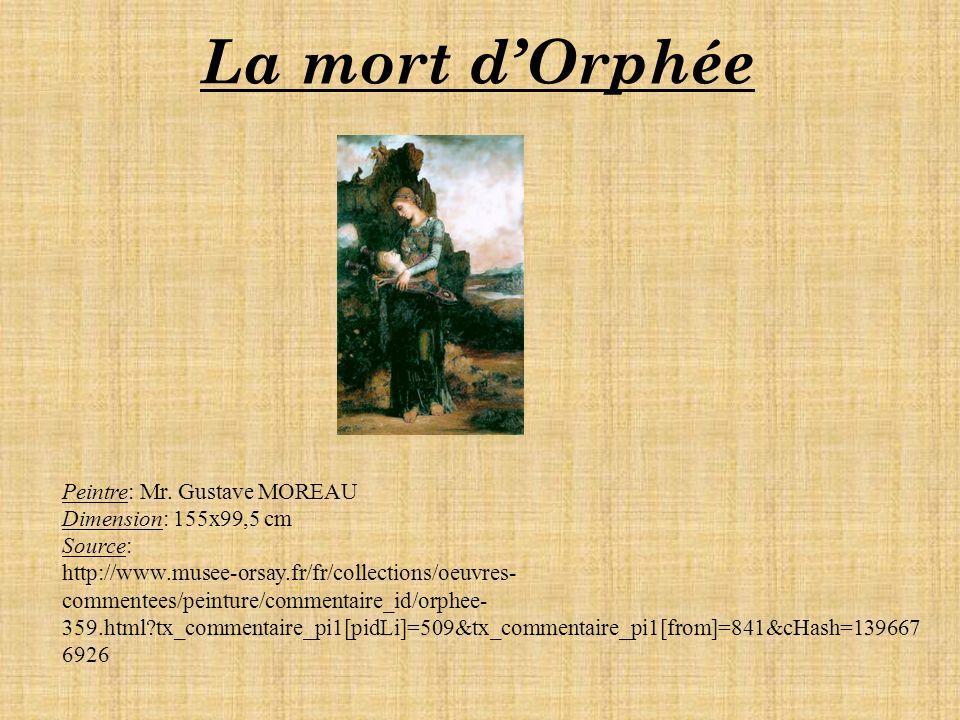 La mort dOrphée Peintre: Mr.