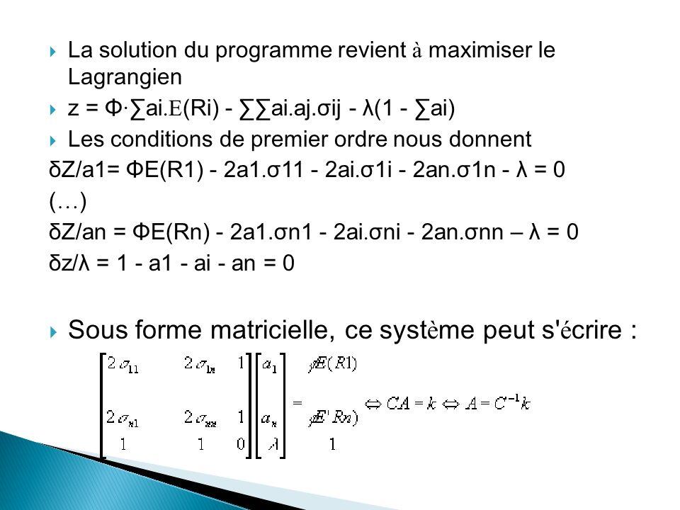 La solution du programme revient à maximiser le Lagrangien z = Φ · ai.E (Ri) - ai.