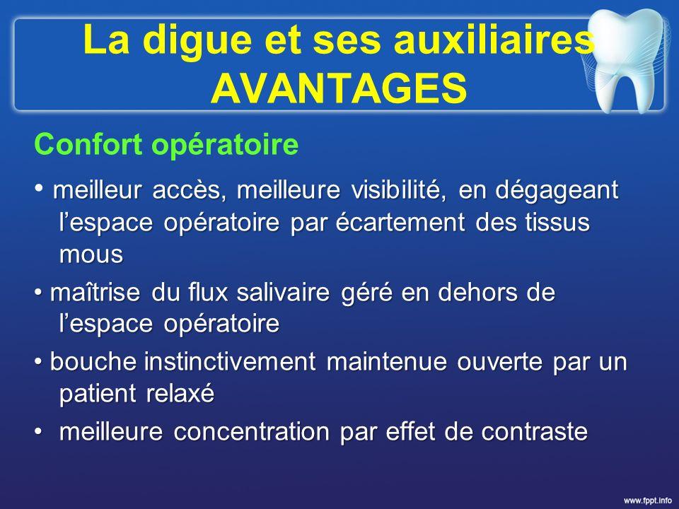 La digue et ses auxiliaires AVANTAGES Confort opératoire meilleur accès, meilleure visibilité, en dégageant lespace opératoire par écartement des tiss