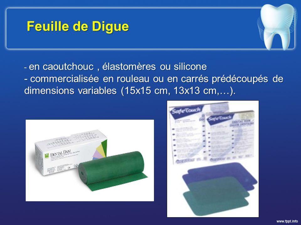 Feuille de Digue en caoutchouc, élastomères ou silicone - en caoutchouc, élastomères ou silicone - commercialisée en rouleau ou en carrés prédécoupés