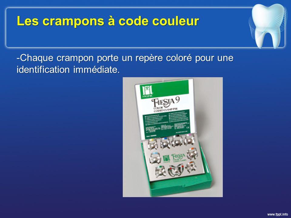 Les crampons à code couleur -Chaque crampon porte un repère coloré pour une identification immédiate.