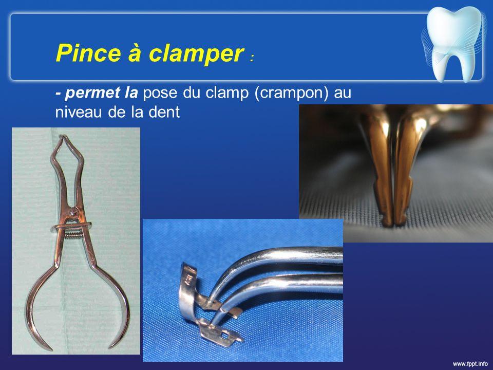 Pince à clamper : - permet la pose du clamp (crampon) au niveau de la dent