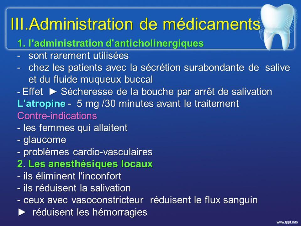 III.Administration de médicaments 1.l'administration danticholinergiques -sont rarement utilisées -chez les patients avec la sécrétion surabondante de