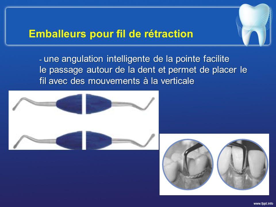 Emballeurs pour fil de rétraction - une angulation intelligente de la pointe facilite le passage autour de la dent et permet de placer le fil avec des
