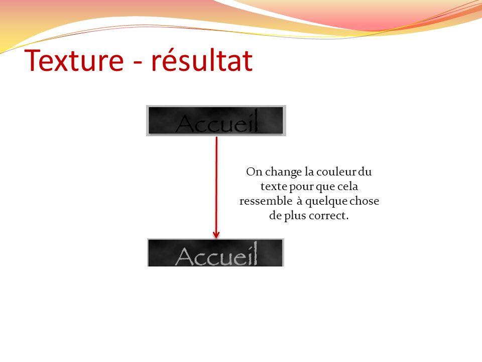 Texture - résultat On change la couleur du texte pour que cela ressemble à quelque chose de plus correct.