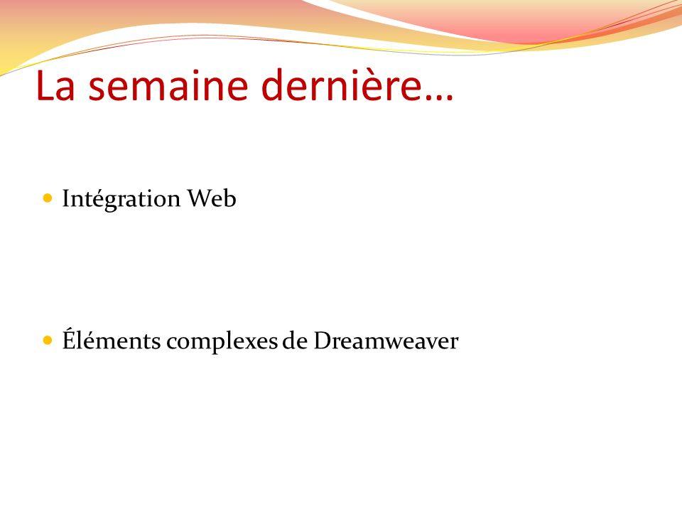 La semaine dernière… Intégration Web Éléments complexes de Dreamweaver