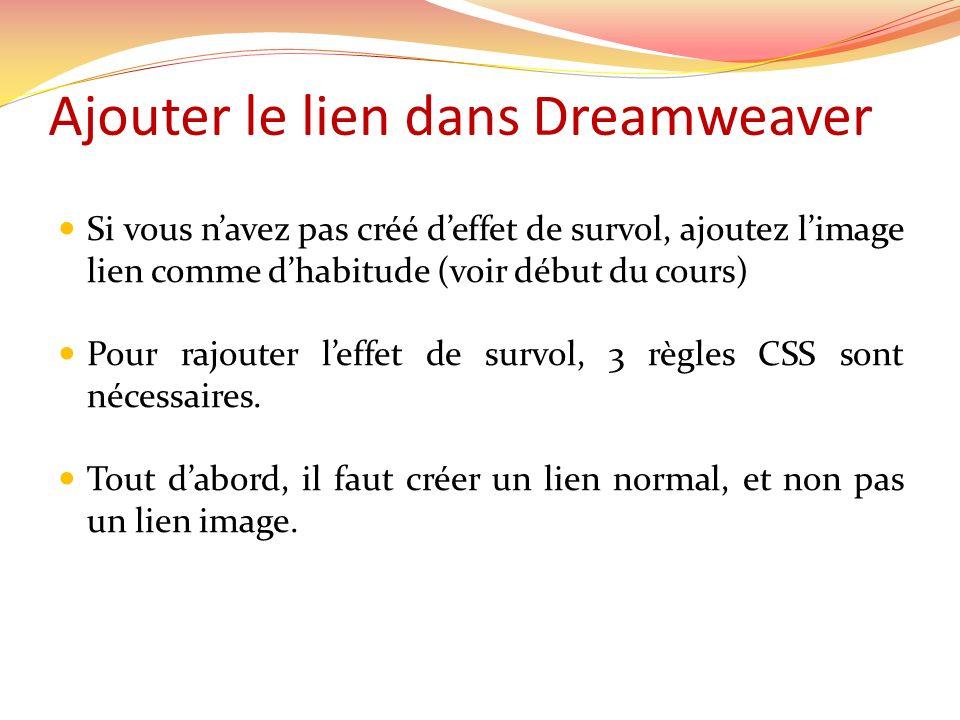 Ajouter le lien dans Dreamweaver Si vous navez pas créé deffet de survol, ajoutez limage lien comme dhabitude (voir début du cours) Pour rajouter leffet de survol, 3 règles CSS sont nécessaires.