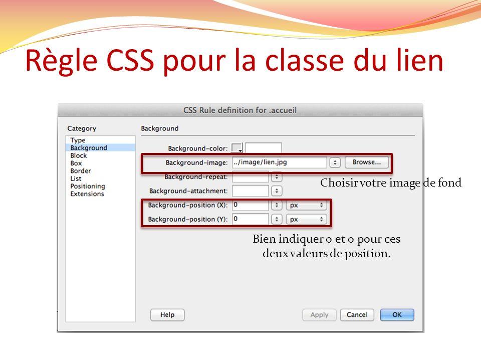 Règle CSS pour la classe du lien Choisir votre image de fond Bien indiquer 0 et 0 pour ces deux valeurs de position.