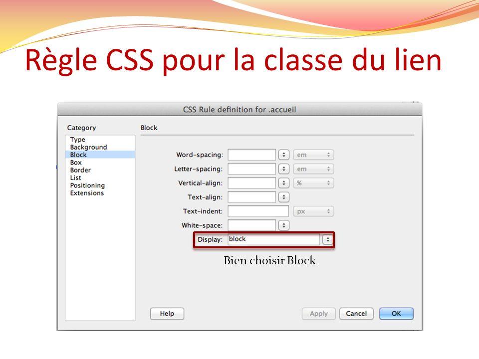 Règle CSS pour la classe du lien Bien choisir Block