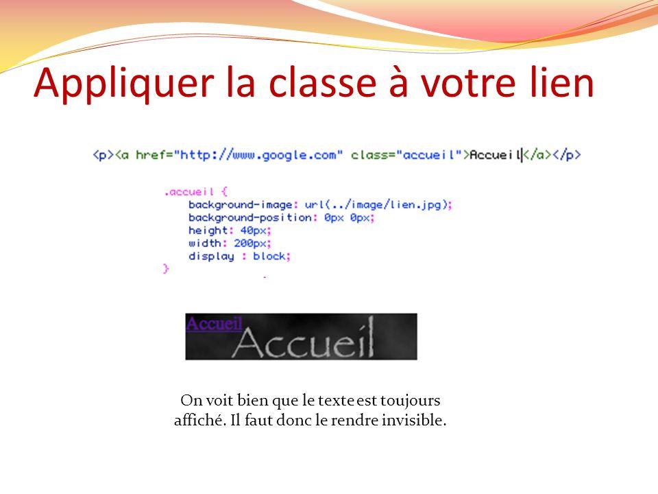 Appliquer la classe à votre lien On voit bien que le texte est toujours affiché.