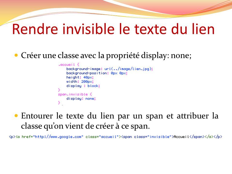 Rendre invisible le texte du lien Créer une classe avec la propriété display: none; Entourer le texte du lien par un span et attribuer la classe quon vient de créer à ce span.