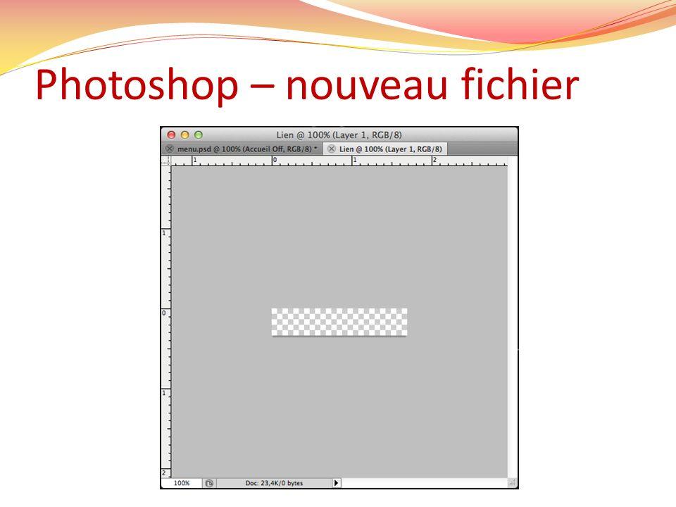 Photoshop – nouveau fichier