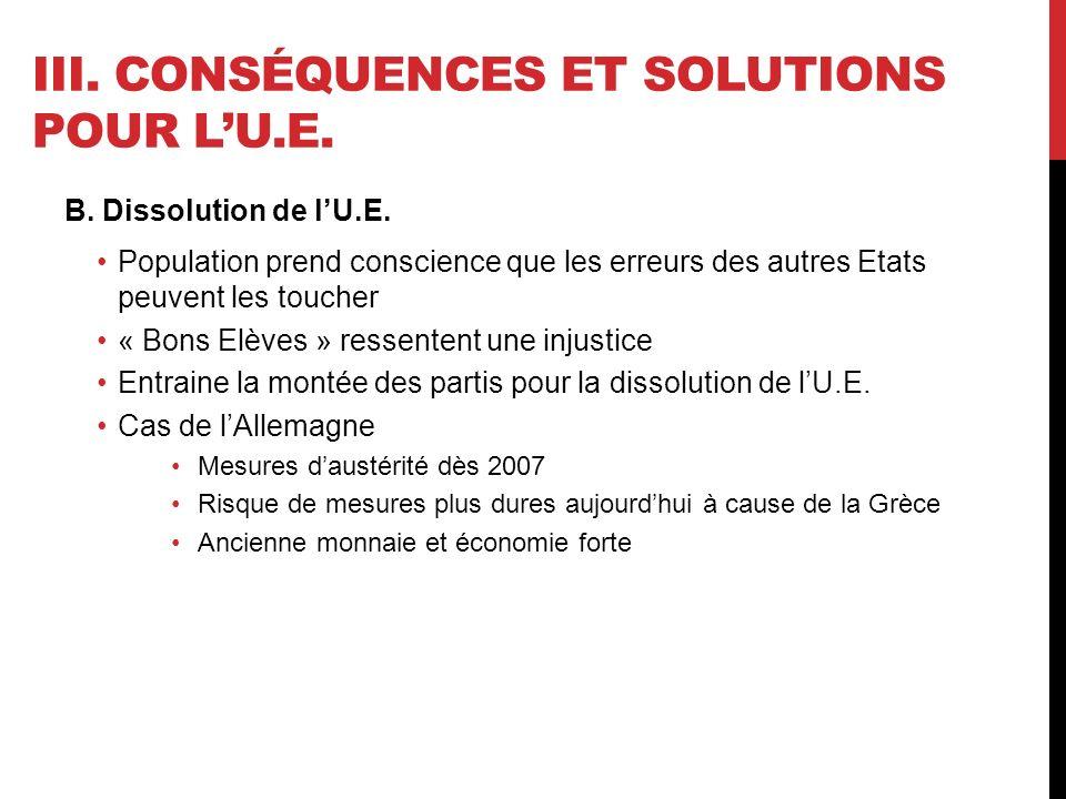 III. CONSÉQUENCES ET SOLUTIONS POUR LU.E. B. Dissolution de lU.E.