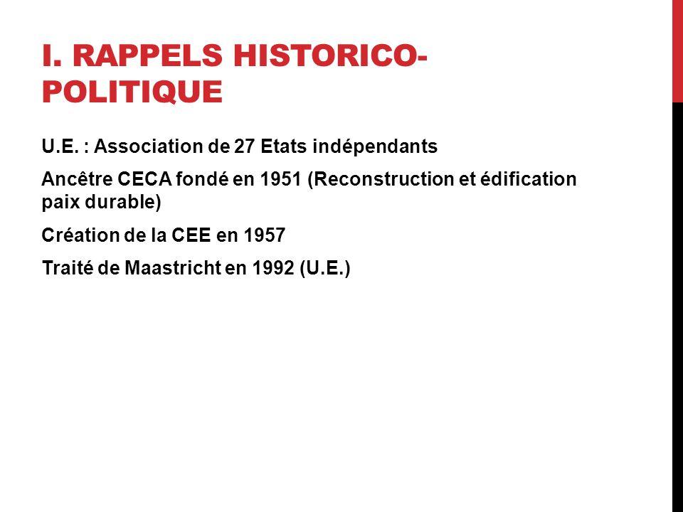 I. RAPPELS HISTORICO- POLITIQUE U.E.