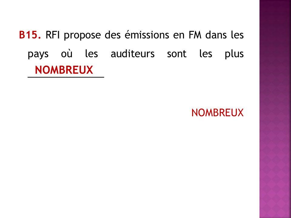 В15. RFI propose des émissions en FM dans les pays où les auditeurs sont les plus ______________ NOMBREUX NOMBREUX