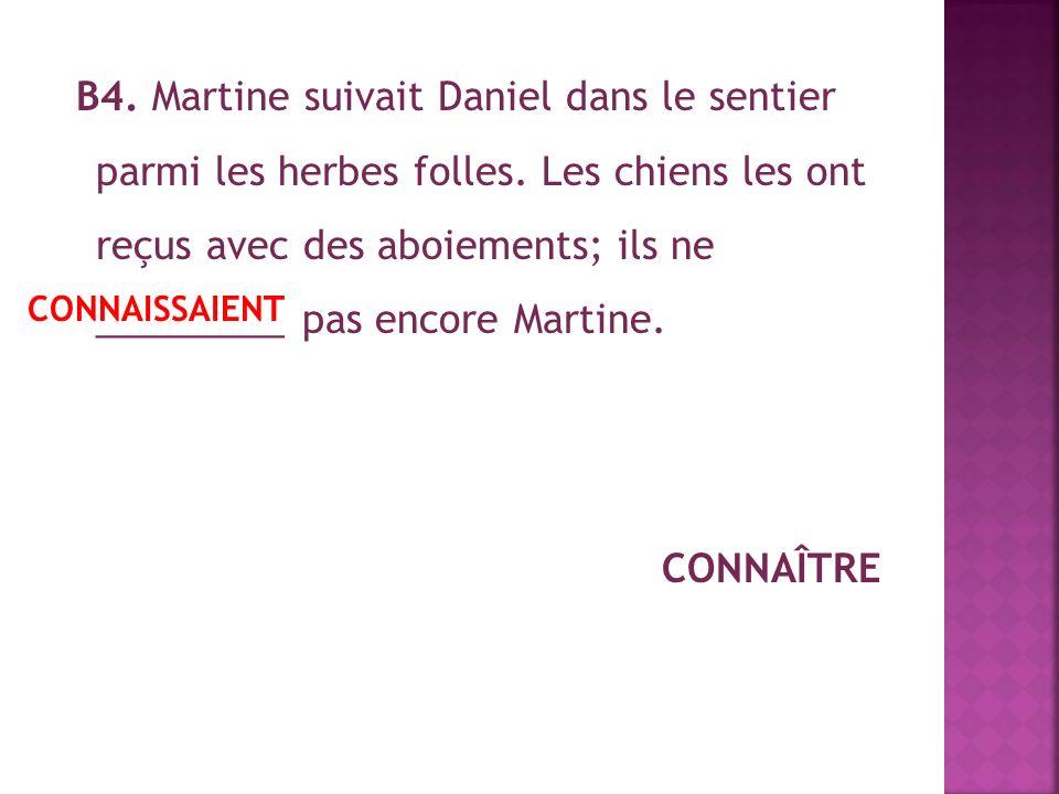 В4.Martine suivait Daniel dans le sentier parmi les herbes folles.
