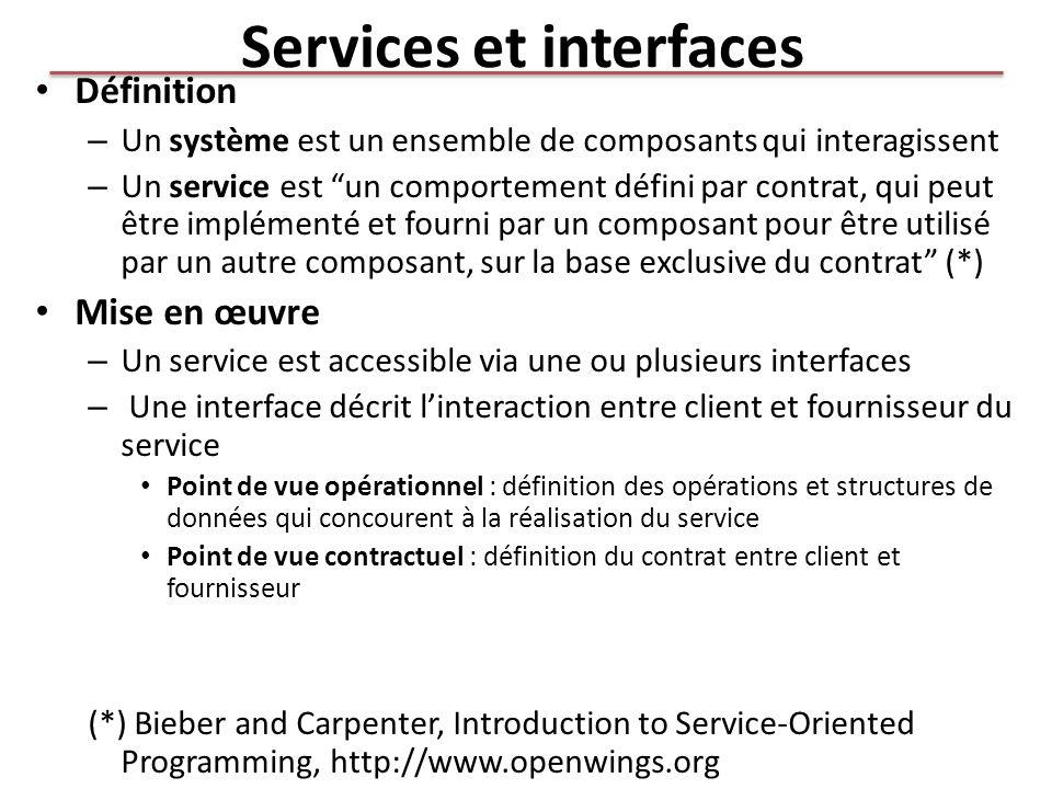 Services et interfaces Définition – Un système est un ensemble de composants qui interagissent – Un service est un comportement défini par contrat, qu